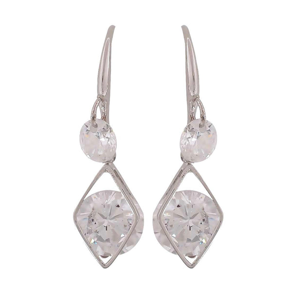 Sensual Silver American Diamond Cocktail Dangler Earrings - MCHUJE12JL93