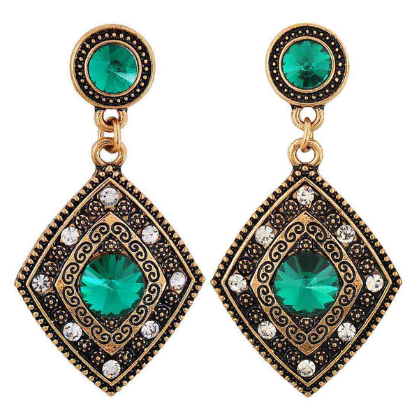 Sizzling Green Gold Stone Crystals Cocktail Drop Earrings - MCHUJE12JL105