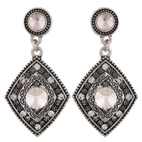 Lovely Silver Oxidised Party Drop Earrings - MCHUJE12JL119