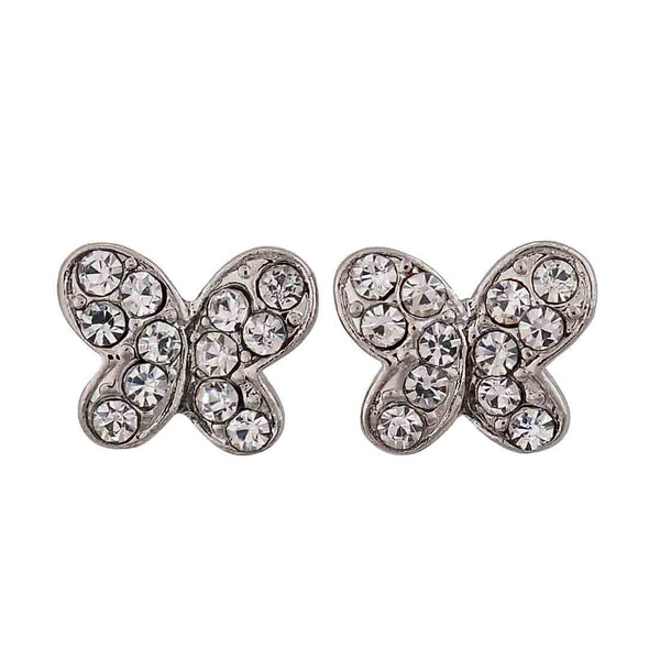 Bright Silver Stone Crystals Party Stud Earrings - MCHUJE12JL125