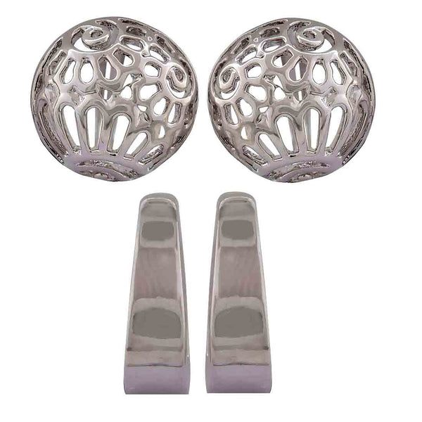 Lovely Silver Designer Dailywear Huggie Earrings - MCHUJE12JL126