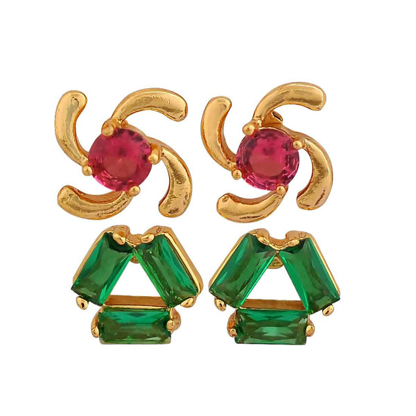Exquisite Green Pink Stone Crystals Office Stud Earrings - MCHUJE12JL129