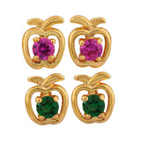 Trendy Green Pink Stone Crystals Dailywear Stud Earrings - MCHUJE12JL130