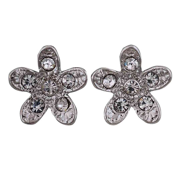 Amazing Silver Stone Crystals Office Stud Earrings - MCHUJE12JL151