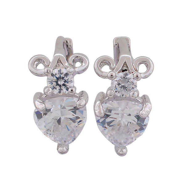 Awesome Silver American Diamond Dailywear Huggie Earrings - MCHUJE12JL152