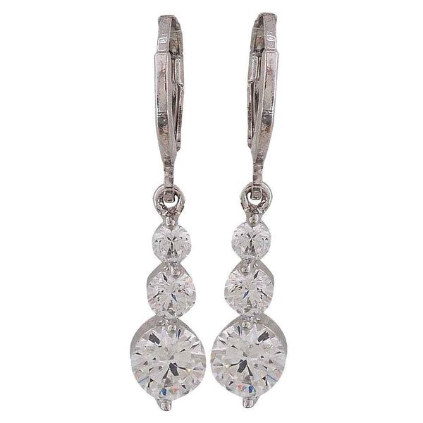 Superb Silver American Diamond Cocktail Huggie Earrings - MCHUJE12JL153