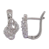 Unique Silver American Diamond Office Huggie Earrings - MCHUJE12JL180