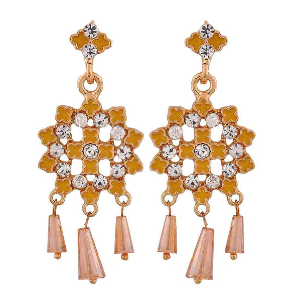 Fantastic Yellow Meenakari College Drop Earrings - MCHUJE12JL193