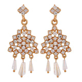 Fabulous White Gold Meenakari Party Drop Earrings - MCHUJE12JL194
