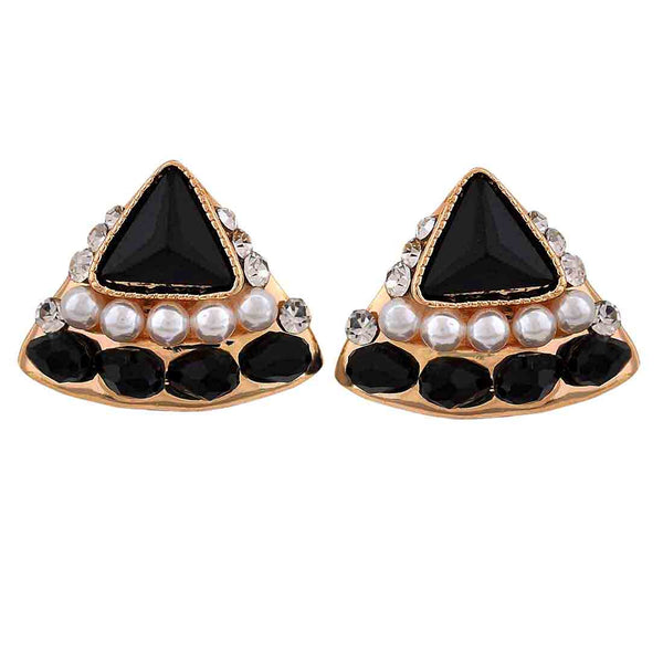 Fab Black White Stone Crystals Cocktail Stud Earrings - MCHUJE12JL195