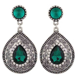 Stunning Green Silver Oxidised Cocktail Drop Earrings - MCHUJE12JL198