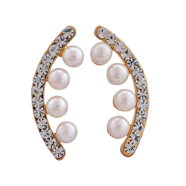 Pretty White Stone Crystals Party Drop Earrings - MCHUJE12JL200