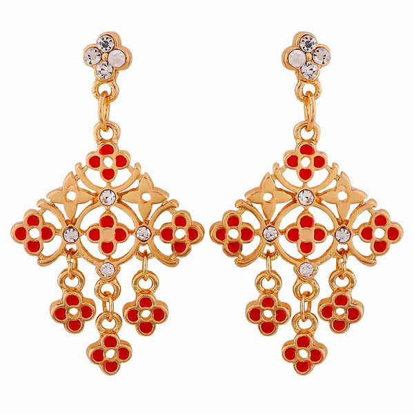Lively Red Gold Meenakari Cocktail Drop Earrings - MCHUJE12JL207