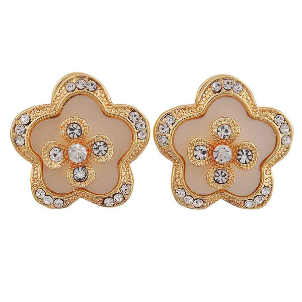 Bright White Gold Stone Crystals Party Clip On Earrings - MCHUJE12JL218