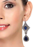Chic Blue Silver Stone Crystals Party Dangler Earrings - MCHUJE12JL227
