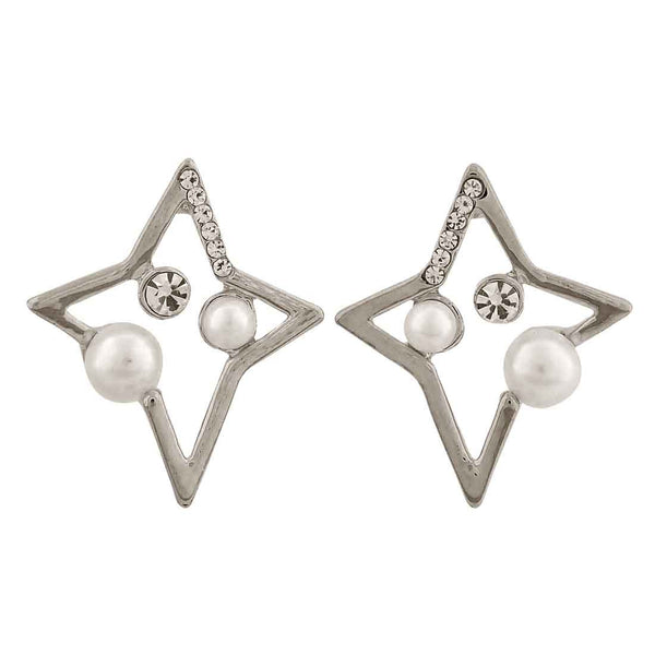 Awesome White Silver Pearl College Drop Earrings - MCHUJE12JL232