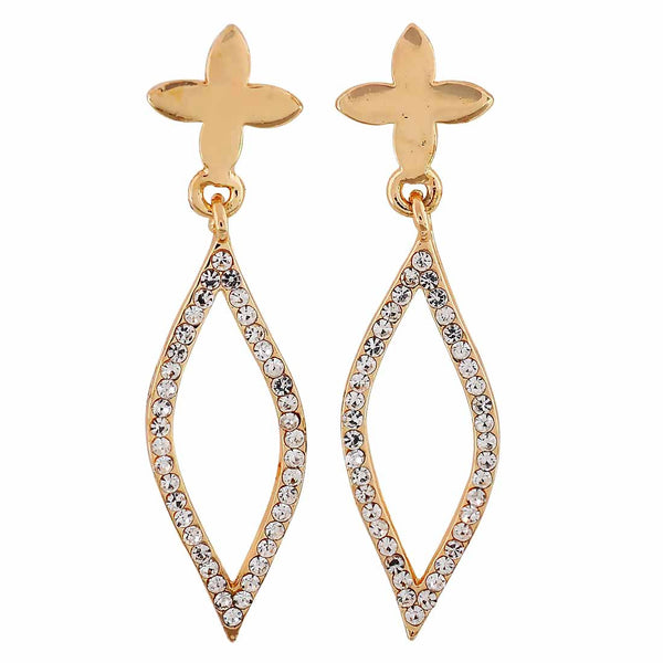 Terrific Gold Stone Crystals Party Drop Earrings - MCHUJE12JL248
