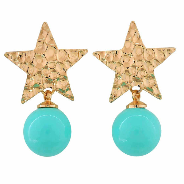 Sizzling Blue Gold Designer College Drop Earrings - MCHUJE12JL253