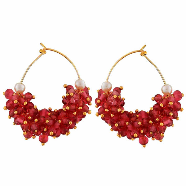 Stunning Pink White Beads  Party Hoop Earrings - MCHUJE12JL254