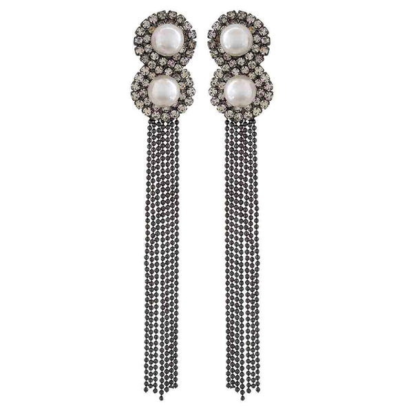 Stylish White Grey Stone Crystals College Tassel Earrings - MCHUJE12JL262