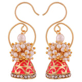 Exquisite Pink White Pearl Ceremony Jhumki Earrings - MCHUJE12JL277