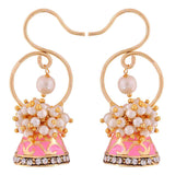 Trendy Pink White Pearl Reception Jhumki Earrings - MCHUJE12JL278