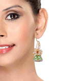Bright Green White Pearl Wedding Jhumki Earrings - MCHUJE12JL280