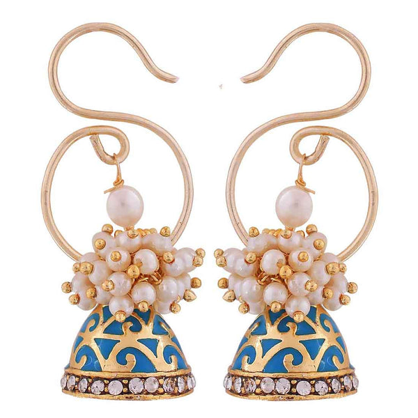 Suave Blue White Pearl Ceremony Jhumki Earrings - MCHUJE12JL283