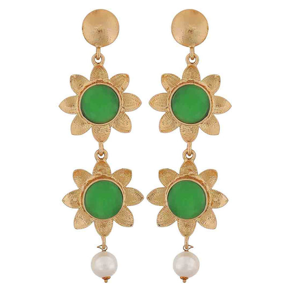 Sexy Green White Indian Ethnic Wedding Drop Earrings - MCHUJE12JL287