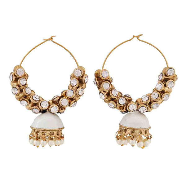 Lovable White Gold Meenakari Festival Hoop Earrings - MCHUJE12JL300