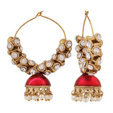 Gorgeous Pink White Meenakari Ceremony Hoop Earrings - MCHUJE12JL302