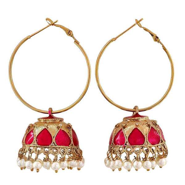 Grand Pink Gold Meenakari Festival Hoop Earrings - MCHUJE12JL330
