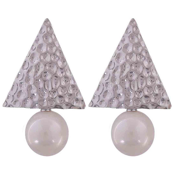 Hot White Silver Pearl Party Drop Earrings - MCHUJE12JL338