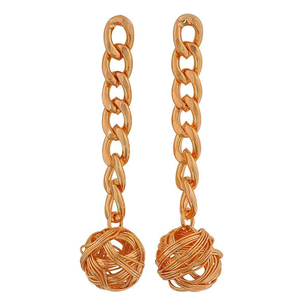 Chic Gold Designer College Drop Earrings - MCHUJE12JL343