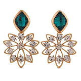 Lovable Blue Gold Stone Crystals Party Drop Earrings - MCHUJE12JL353