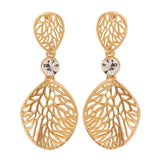 Plush Gold Filigree Cocktail Drop Earrings - MCHUJE12JL357
