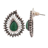 Sexy Green Silver Filigree Party Drop Earrings - MCHUJE12JL359