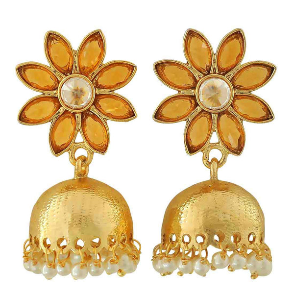 Dashing Orange White Indian Ethnic Ceremony Jhumki Earrings - MCHUJE12JL377