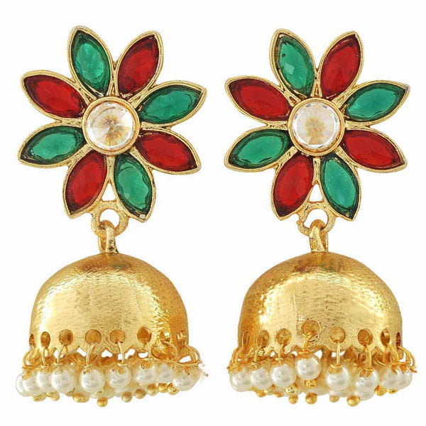 Sexy Red Green Indian Ethnic Party Jhumki Earrings - MCHUJE12JL379