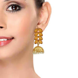 Superb Gold White Indian Ethnic Wedding Jhumki Earrings - MCHUJE12JL380