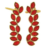 Charming Red Gold Stone Crystals Festival Cuff Earrings - MCHUJE12JL381