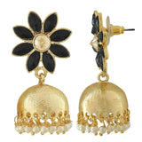 Chic Black White Indian Ethnic Sangeet Jhumki Earrings - MCHUJE12JL382
