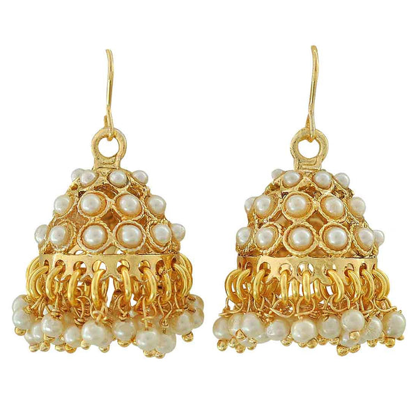 Cute White Gold Pearl Sangeet Jhumki Earrings - MCHUJE12JL388