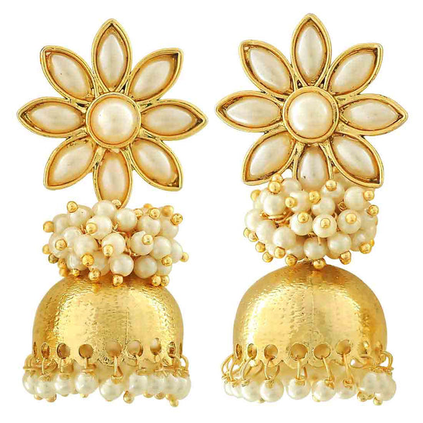 Classy White Gold Pearl Party Jhumki Earrings - MCHUJE12JL397
