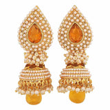 Classy White Gold Pearl Wedding Jhumki Earrings - MCHUJE12JL428