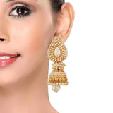 Hot White Gold Pearl Ceremony Jhumki Earrings - MCHUJE12JL431