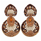 Plush Brown Gold Stone Crystals Sangeet Drop Earrings - MCHUJE12JL436