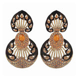 Adorable Black Gold Stone Crystals Reception Drop Earrings - MCHUJE12JL444