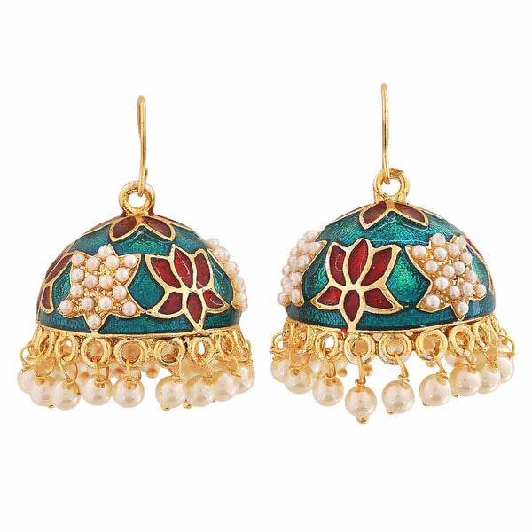 Sensual Multicolour Meenakari Sangeet Jhumki Earrings - MCHUJE12JL448