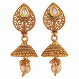 Lively Gold White Indian Ethnic Party Jhumki Earrings - MCHUJE12JL469